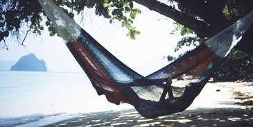 multicoloured beach hammock - click here to visit the hammock page!
