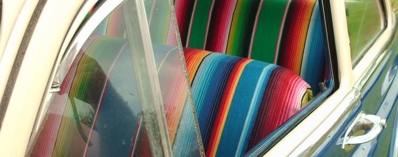 Mexican blankets as car seat covers