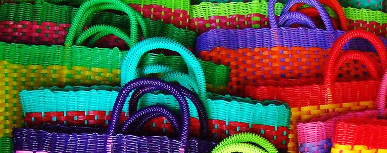 Colourful practical woven baskets